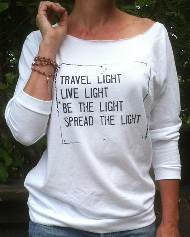 "SLT ~ TRAVEL LIGHT..."" White French Terry 3/4 Sleeve"