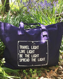 "SLT ~ ""TRAVEL LIGHT..."" Navy Carry All Tote Bag"