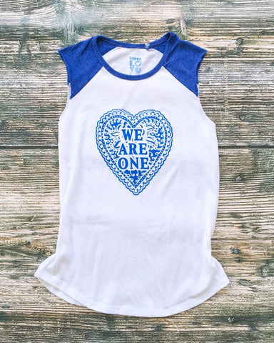 "SLT ~ 'WE ARE ONE"" White and Blue Muscle Tee"