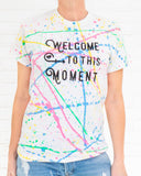 SLT ~ Welcome to this Moment - White Rainbow Splatter Cotton Tee