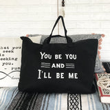 "SLT ~ ""YOU BE YOU"" Black Carry All Tote Bag"