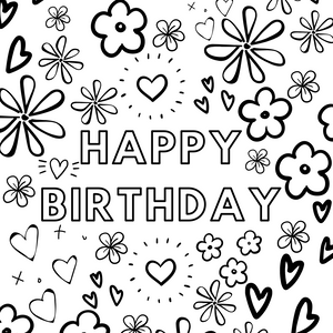 HAPPY BIRTHDAY Coloring Page FREE DOWNLOAD
