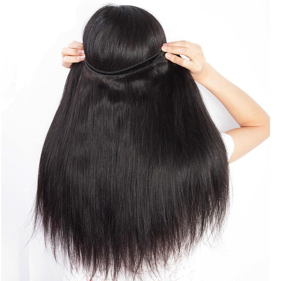 Peruvian Straight Hair Bundle with free part  closure