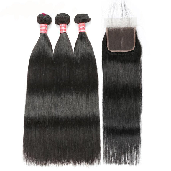 3 Peruvian Straight Hair Bundles With Closure 100% Human Hair