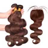 Light Brown Body wave Bundles With Closure