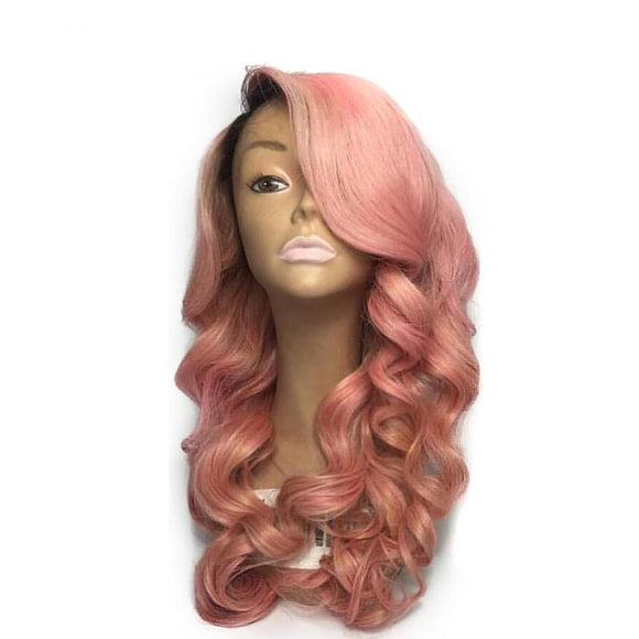 Ombre Pink Color Lace Front Human Hair Wig with Baby Hair