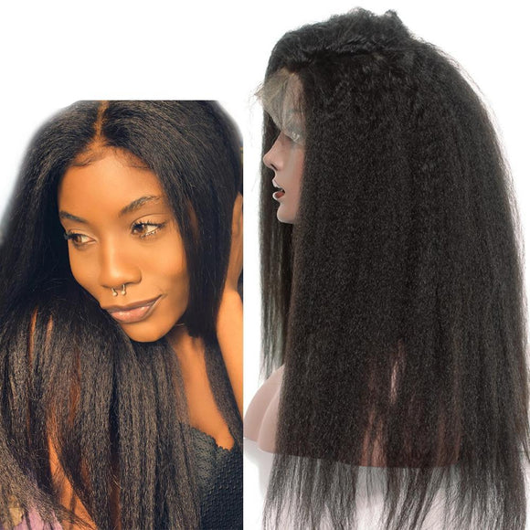 Brazilian Kinky Straight Wig Lace Front Wig with Baby Hair