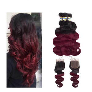 Burgundy Dark wine red Body wave Ombre Hair  Bundles With Closure