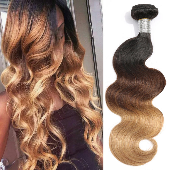 Ombre Brazilian Body Wave Hair Bundles 1B/4/27 ( 3PC)