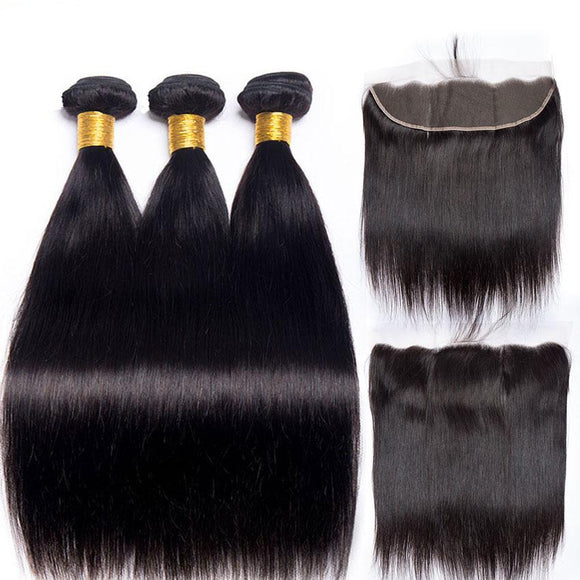 Malaysian Straight Hair Bundles With Frontal Closure