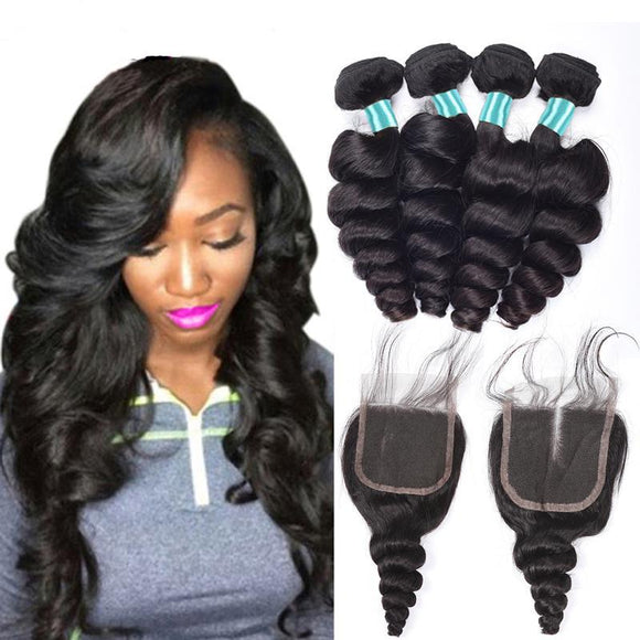 Malaysian Loose Wave  Bundles   with Baby Hair Closure