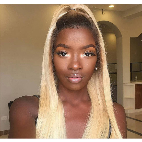 Ombre Blonde Straight Brazilian Lace Front  Wig