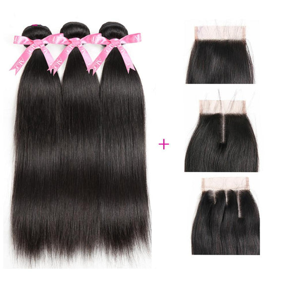 Peruvian Straight Human Hair Bundles With Lace Closure (4 Pcs)