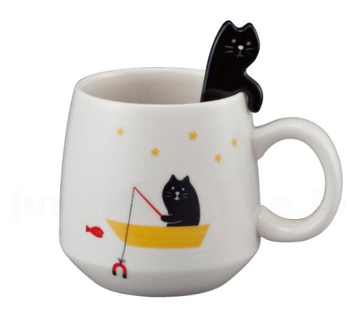 Concombre Black Cat Mug with Spoon