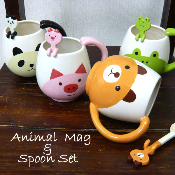 Decole Manmaru Mug with Animal Spoon (Pig) - oo35mm