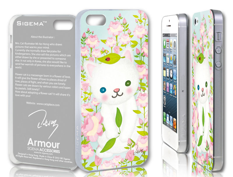 Sigema ProCase iPhone 5 Cover - Hydrangeas and Cat