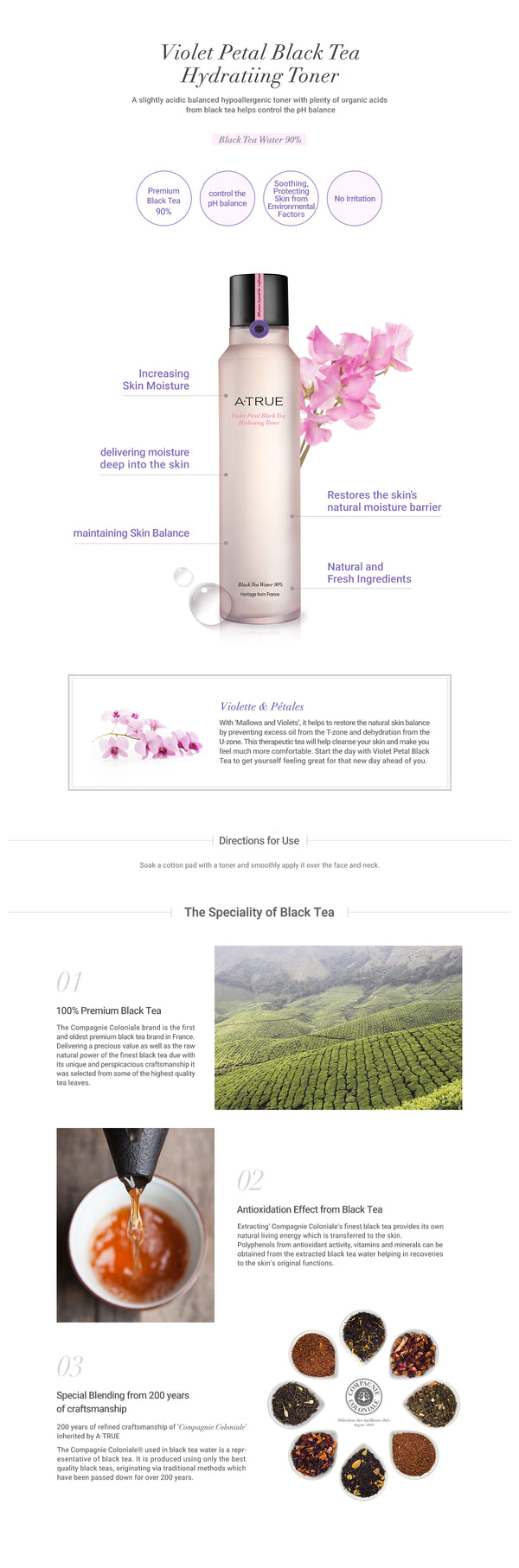 A. True Violet Petal Black Tea Hydrating Toner