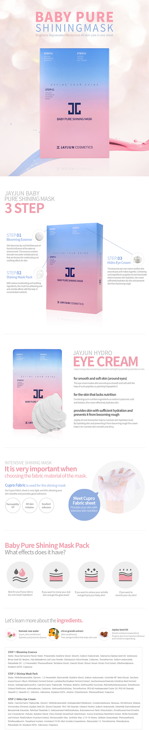 Jayjun 3-Step Baby Pure Shining Mask