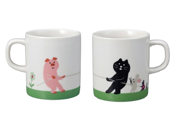 Decole Concombre Pig and Cat Mug Set