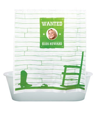 Peek-A-Boo, Wanted Shower Curtain Green - oo35mm