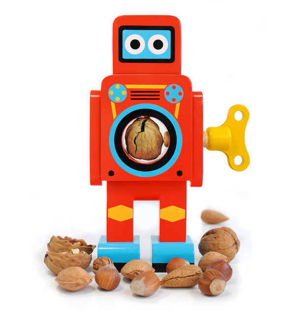 Retro Wooden Robots - Red