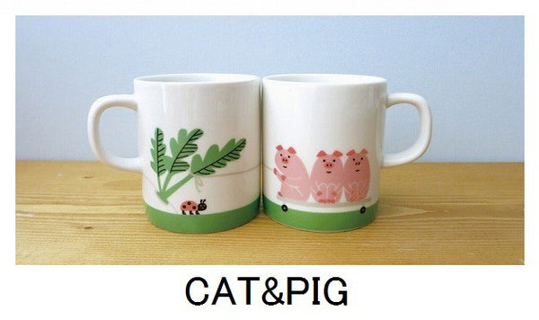 Decole Concombre Pig and Cat Mug Set - oo35mm