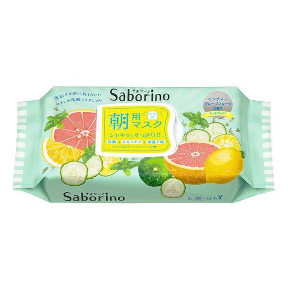 BCL Saborino Morning Face Mask 32 Sheets - Grapefruit & Mint - oo35mm