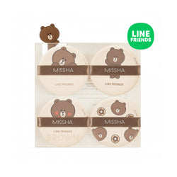 Missha Tension Pact Puff Fitting 4P (Line Friends Edition) Brown