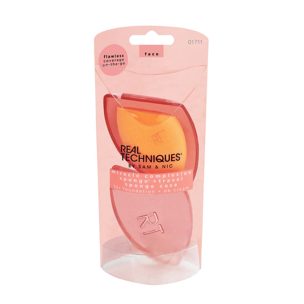 Real Techniques Miracle Complexion Sponge + Travel Sponge Case - oo35mm