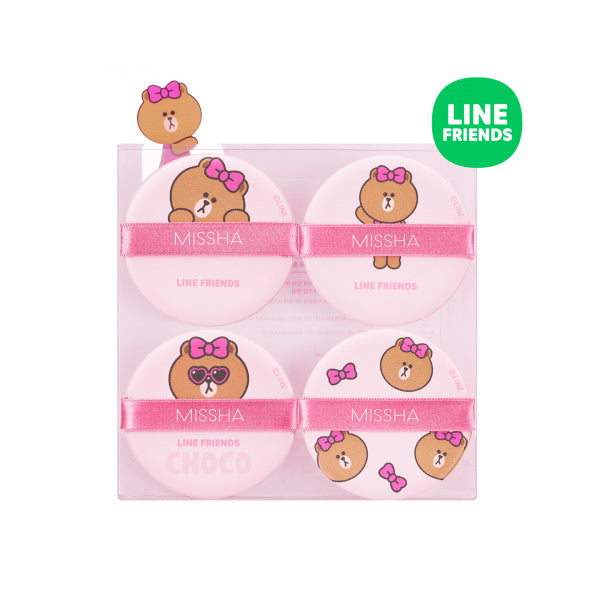 Missha Tension Pact Puff Fitting 4P (Line Friends Edition) Pink