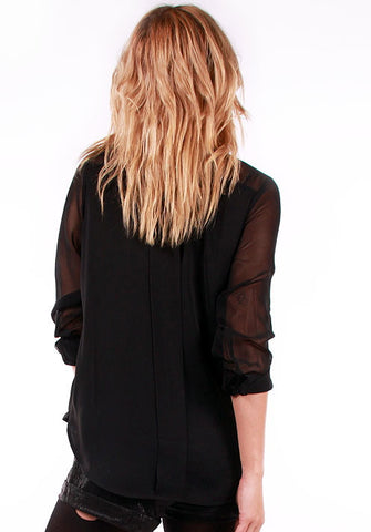 Perfect Black Pleated Blouse