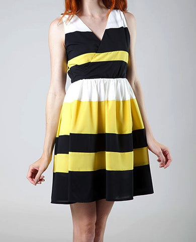 Black & Yellow Striped Dress