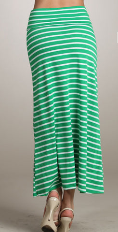 Striped Maxi Skirt (green, navy, grey)