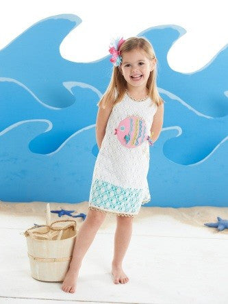 Mud Pie Crochet Fish Cover Up, 3T