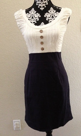 Alythea Dress, Cream and Navy