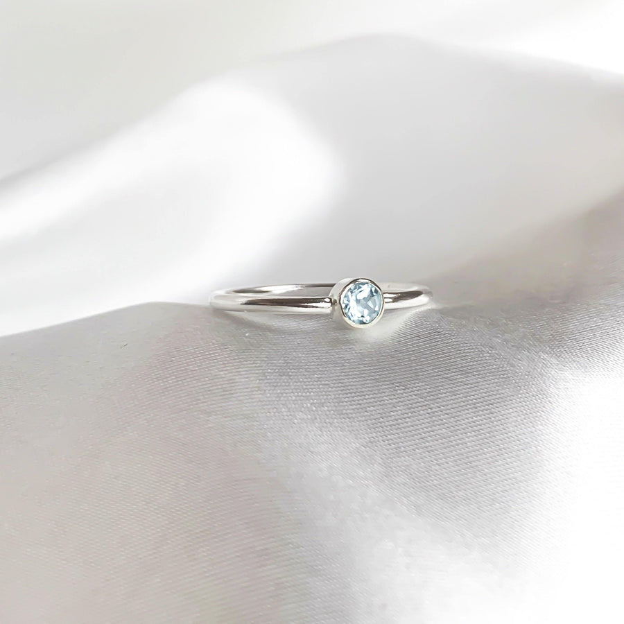 March Birthstone Ring - Aquamarine - Lunar James