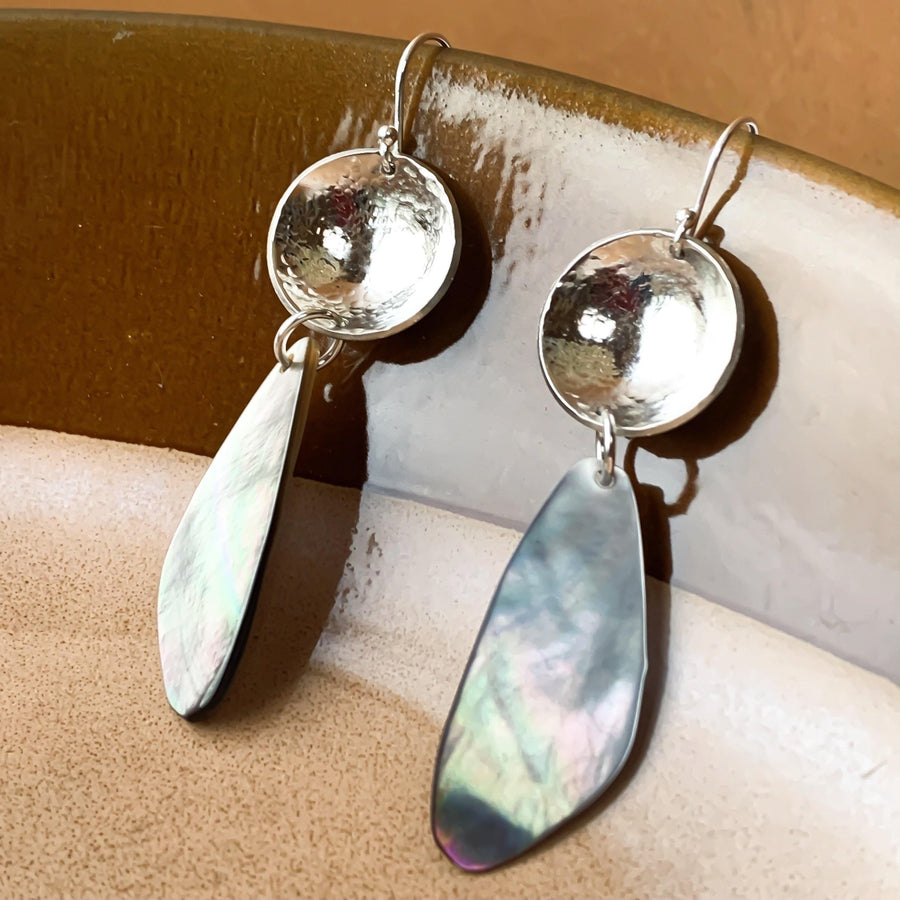 Insula Earrings - Eco Silver with Mother of Pearl - Lunar James