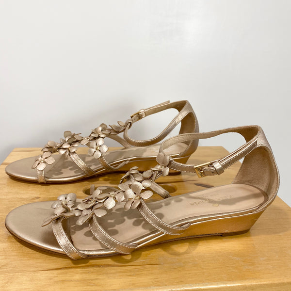 KATE SPADE Rose Gold Floral Strappy Gladiator Sandals Women's 8M Wedding Summer