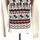 Vintage Mickey Mouse with Deer Christmas Knit V Neck Sweater