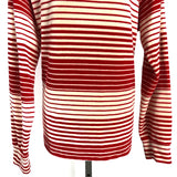70s Velour Ellmar Candy Cane Striped Long Sleeve Sweater Shirt Made In USA Large