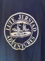 Vintage LUTE JERSTAD ADVENTURES Mountaineering Navy Blue White Single Stitch TShirt USA Made XL