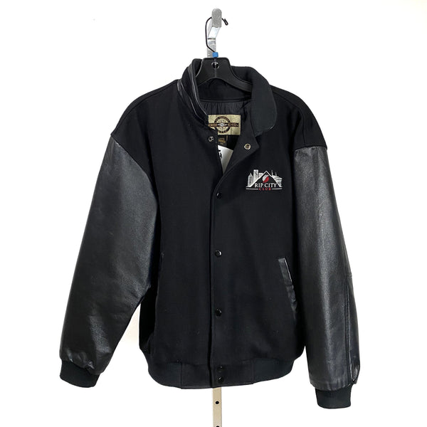 RIP CITY CLUB Black Leather Varsity Jacket Portland Trail Blazers MEDIUM