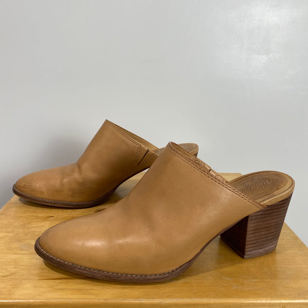 MADEWELL Harper Tan Leather Mule Clog Heels US 8.5 Trending Blogger Favorite