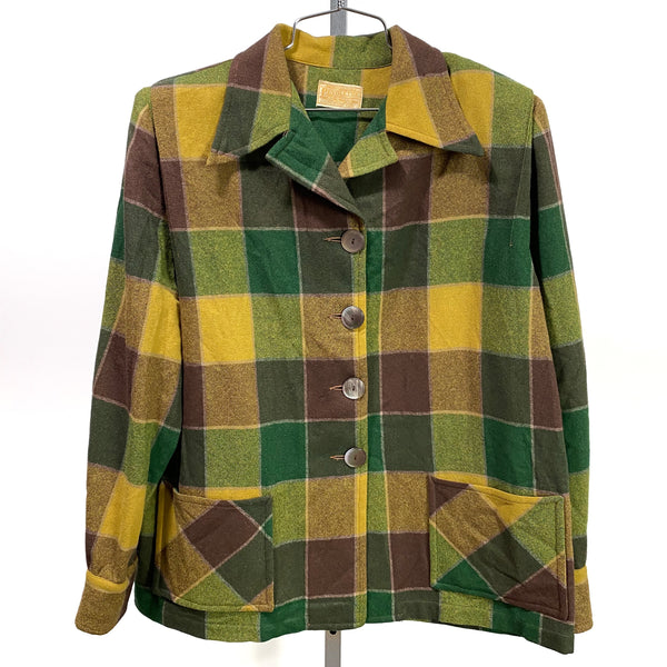 Vintage PENDLETON 49er Wool Car Coat Green Gold USA Made MEDIUM