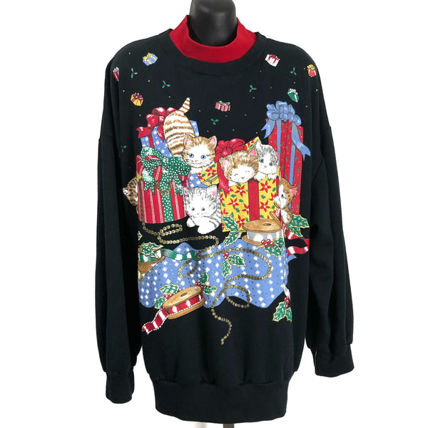 Nutcracker Plus Size Kitties & Presents Christmas Pull Over Black Sweater Made In USA 2X