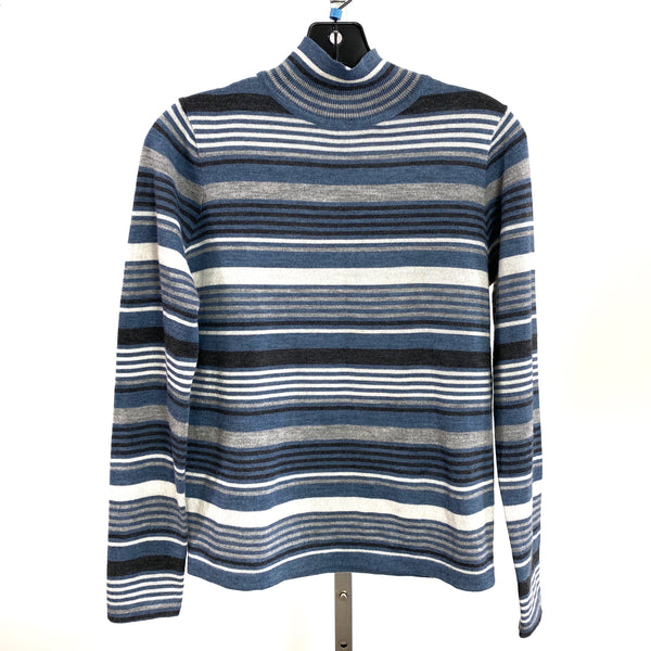 90s Y2K Merino Wool Blue & Gray Striped Mock Neck Long Sleeve