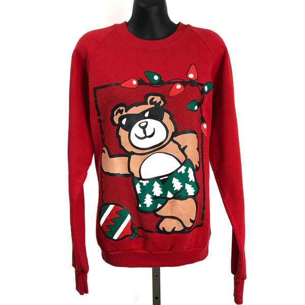 Vintage 90s B.J. Design Concept Red Cool Bear Christmas Crew Neck Sweater Made In USA Large