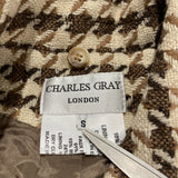 CHARLES GRAY London Brown Tan Houndstooth MidWeight Lined Coat SMALL