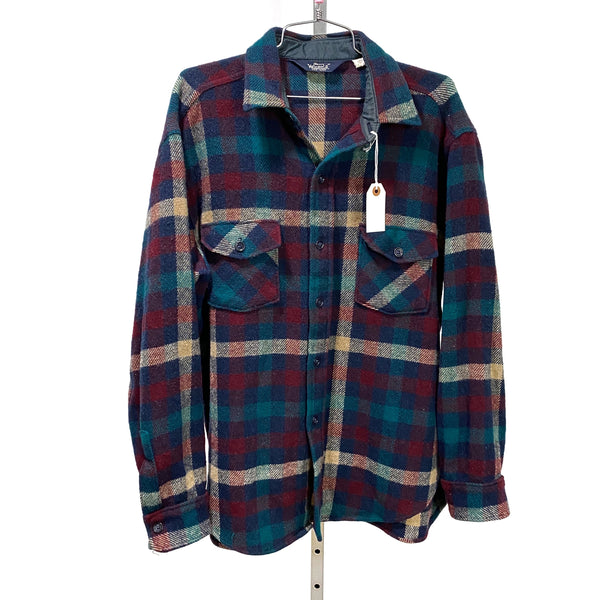 Vintage WOOLRICH Buffalo Check Long Sleeve Shirt Teal Maroon Tan USA Made LARGE