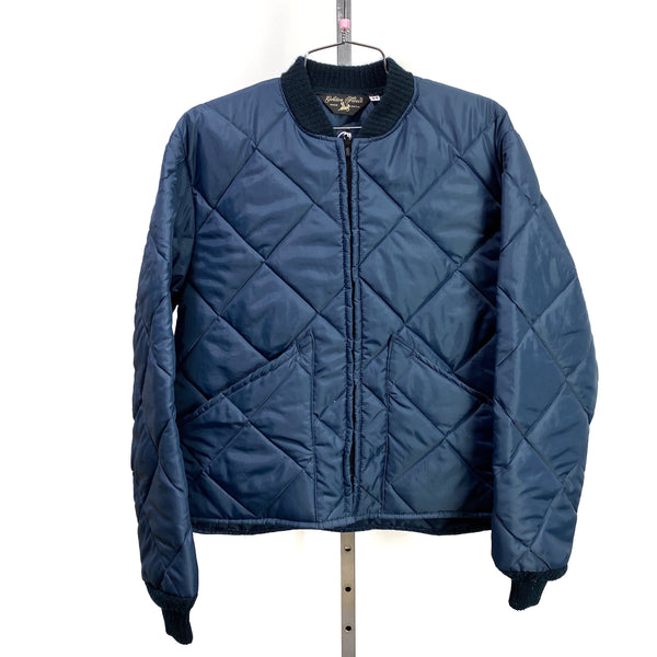 Vintage GOLDEN FLEECE Navy Blue Quilted Bomber Jacket USA Made Size 44